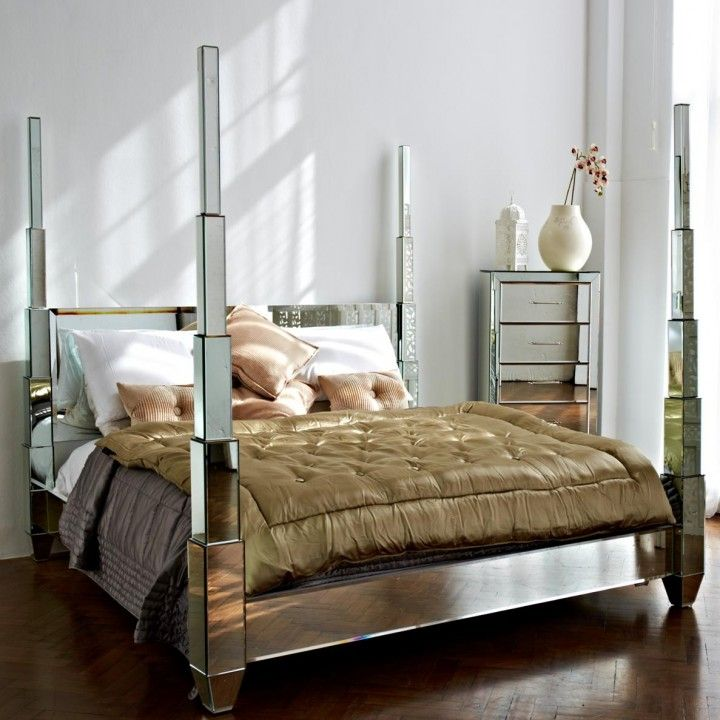 10 Modern Four Poster Beds Styles And Pictures Mirrored Bedroom Furniture Mirrored Furniture Bedroom Decor Interior Design