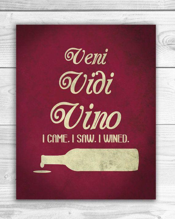 Funny Wine Art Print Veni Vini Vino Wine by