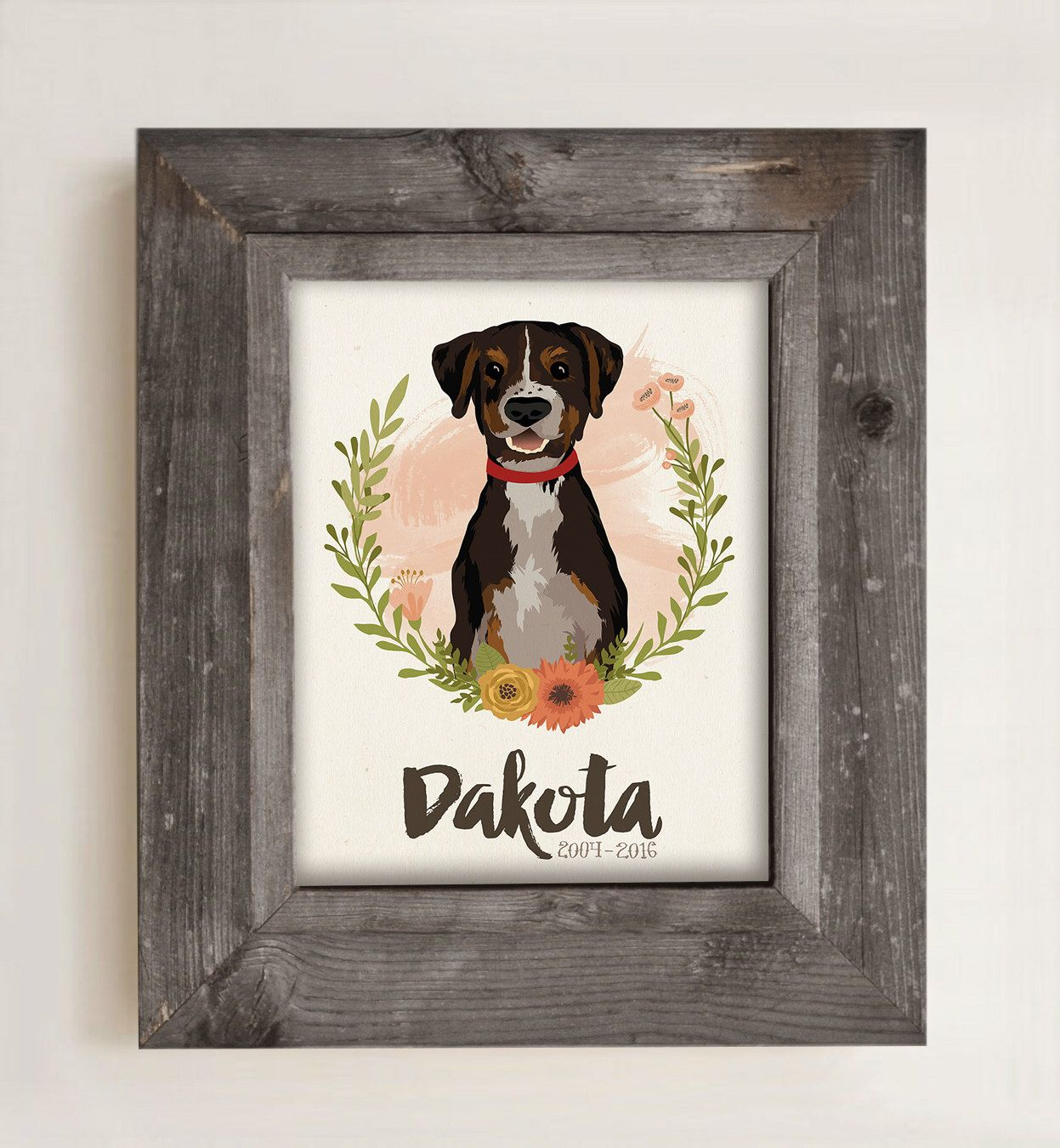 Dog portrait custom pet memorial gift pet loss gift
