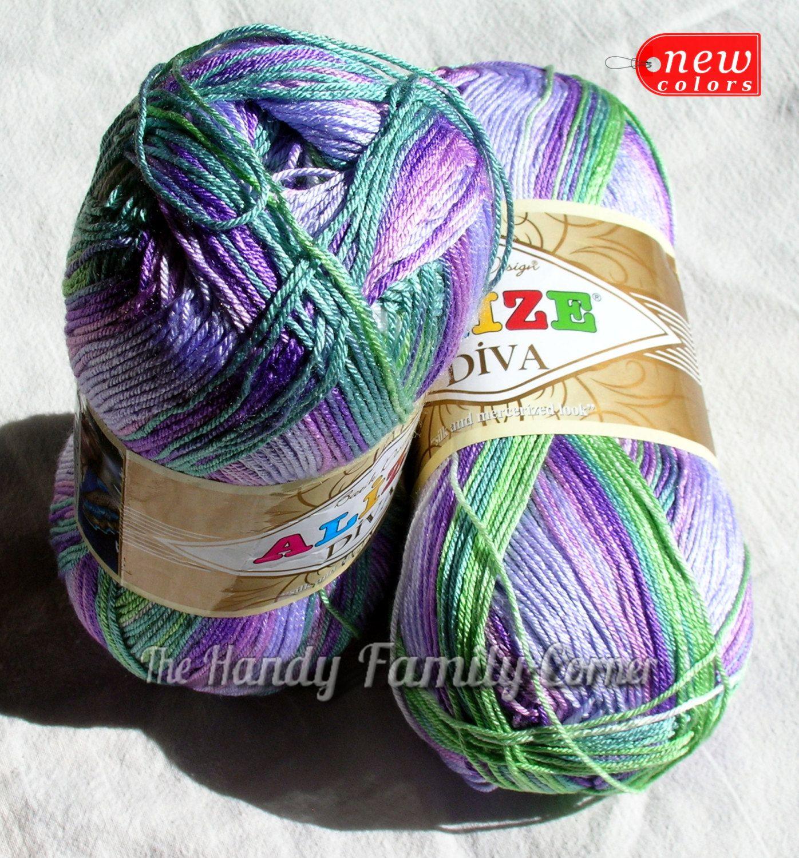 Selfstriping Yarn Alize Diva Batik Silky Multicolor