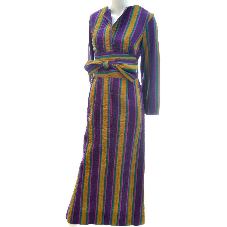 1970s Bohemian Vintage Striped Silk Hostess Caftan from Saks Fifth ...