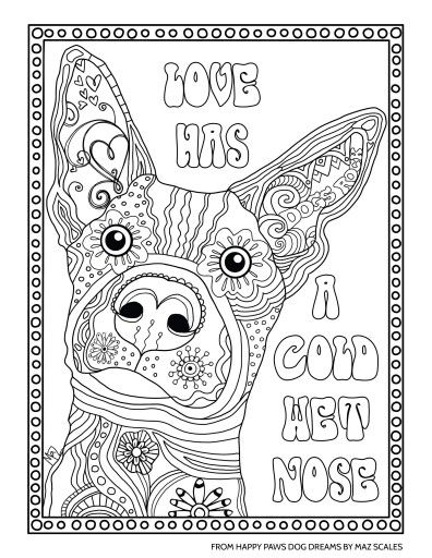 Love/dog coloring | Activity Therapy | Dog coloring page ...