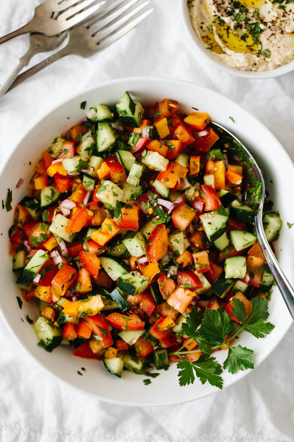 Israeli salad is an easy middle eastern salad recipe made