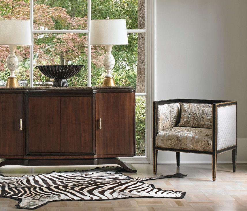 Baroque Ambella Home vogue Atlanta Transitional Living Room Remodeling ideas with ambella lounge chair sideboard square table lamps upholstered wood zebra rug www.sebraskinn.no