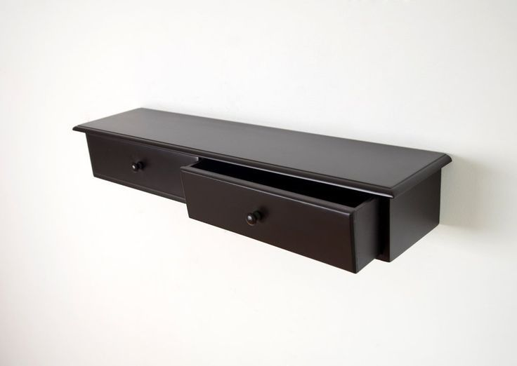 Storage Wall Shelf With Built In Drawers Espresso Floating Shelves