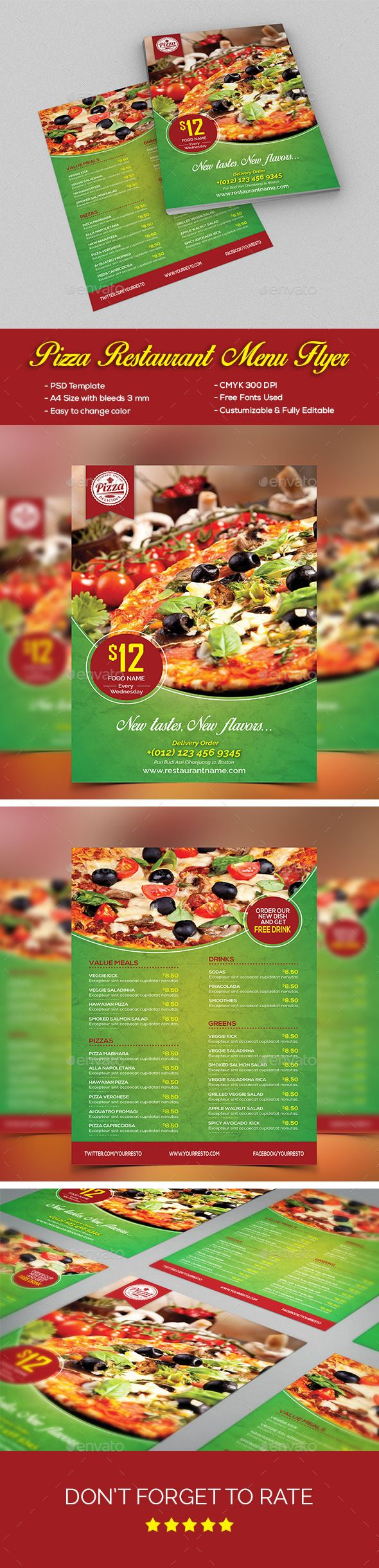 Pizza Restaurant Menu Flyer | Folletos, Portafolio y Revistas