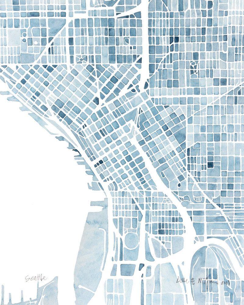 10x8 Seattle Washington Blueprint City map watercolor wall art