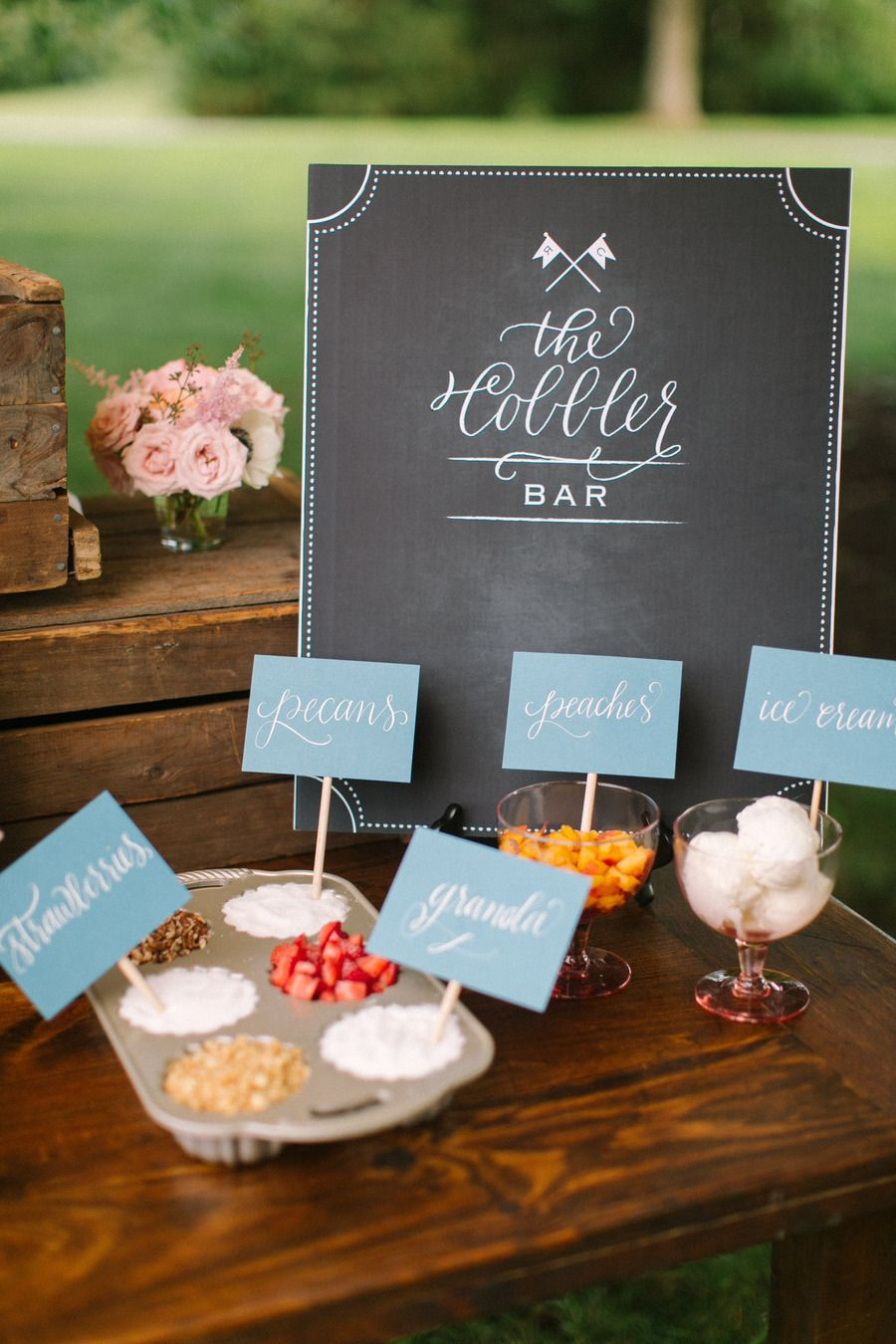 Topping bar for cobbler. Photography by rutheileenphotography.com  Read more - http://www.stylemepretty.com/2011/11/16/inn-at-rancho-santa-fe-wedding-by-red-ribbon-studio/