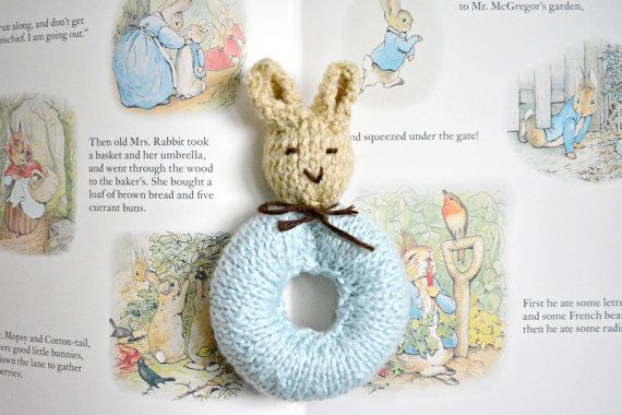 Peter Rabbit Baby Rattle Knit Bunny Rabbit Baby Toy Made To
