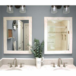 Laurel Foundry Modern Farmhouse 2 Piece Samara Farmhouse Country Distressed Mirror Set Wayfair In 2020 Farmhouse Bathroom Mirrors Cottage Bathroom Mirrors Cottage Mirrors