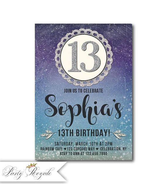 Blue Purple 13th Birthday Invitations girl 13th Birthday Teen