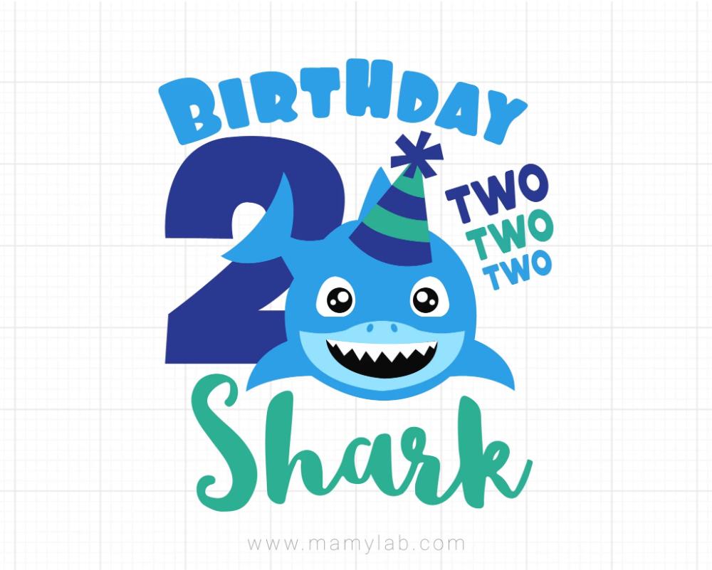 Shark 2nd Birthday Svg, Boy Birthday Shark Svg, Dxf, Baby ...