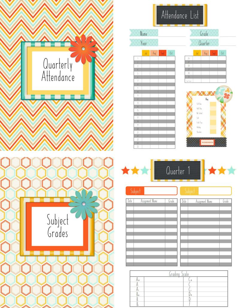 Attendance And Grade Book Page Of Homeschool Planner  Office