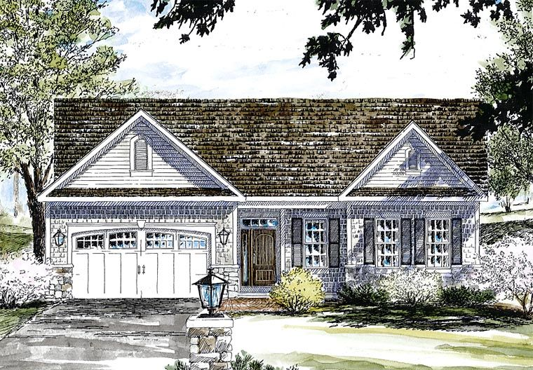 Traditional Style House Plan 80309 With 2 Bed 2 Bath 2 Car Garage Cape Cod House Cape Cod House Plans House Plans