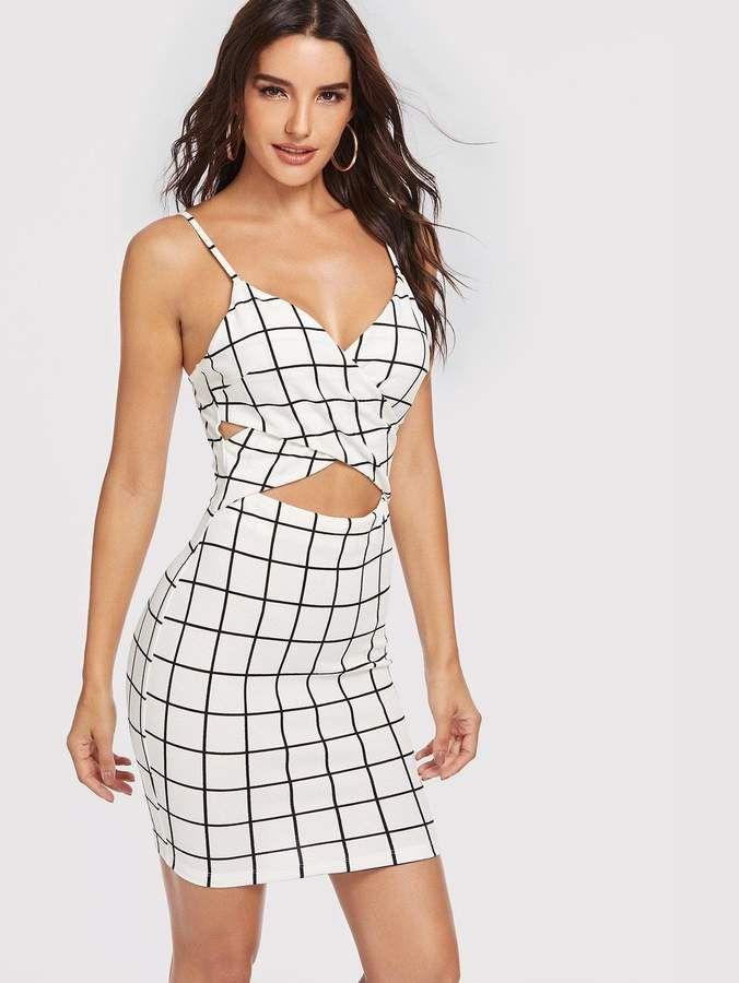 0a0997f756 Shein Cross Wrap Peekaboo Grid Cami Dress in 2019 | Products ...