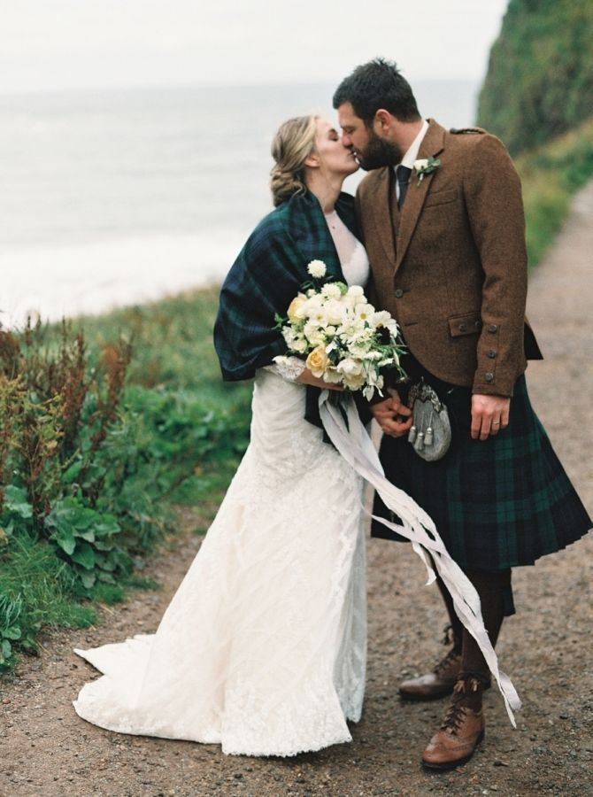 Elegant Cliff Top Ceremony In Scotland Scottish Wedding Dresses Scottish Wedding Scottish Wedding Traditions