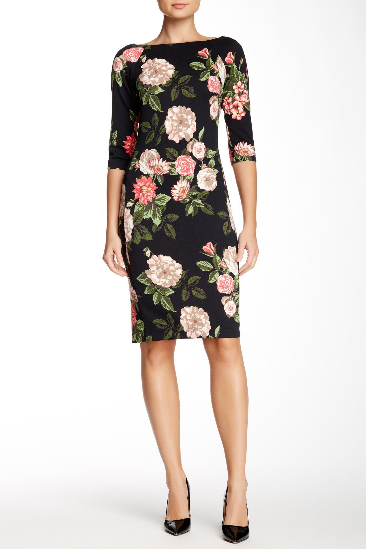 Donna Morgan | 3/4 Length Sleeve Floral Scuba Midi Dress ...