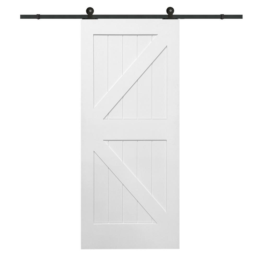 Mmi Door 36 In X 84 In Primed K Plank Mdf Sliding Barn Door With