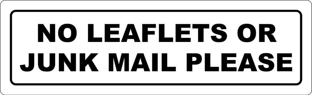 No Brochures Or Leaflet Letter Box Sign