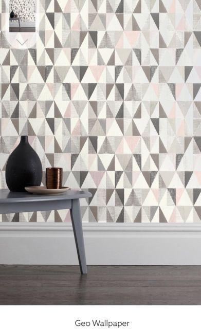 Bnwt Next Blush Grey Pink Tri Geo Print Feature Wallpaper Roll
