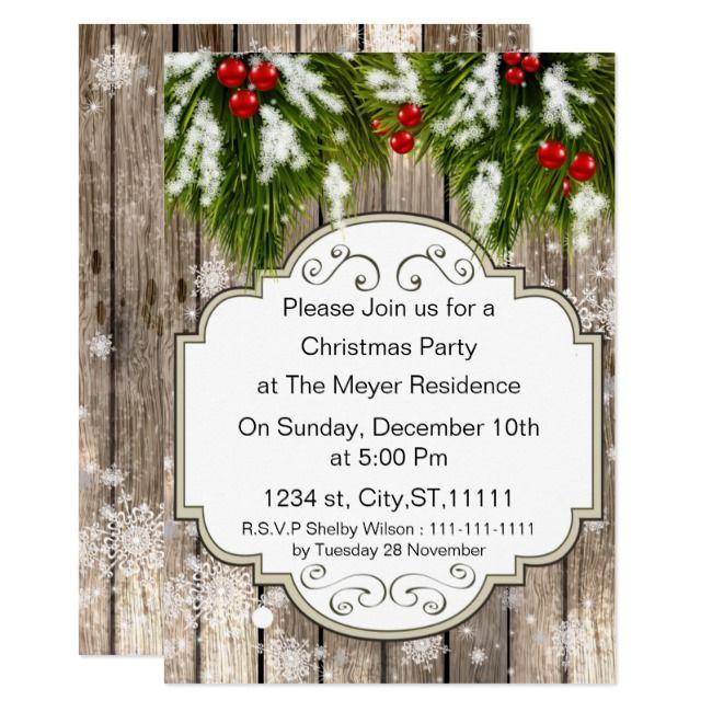 winter woodland pine Holiday party Invitation |  winter woodland pine Holiday party Invitation