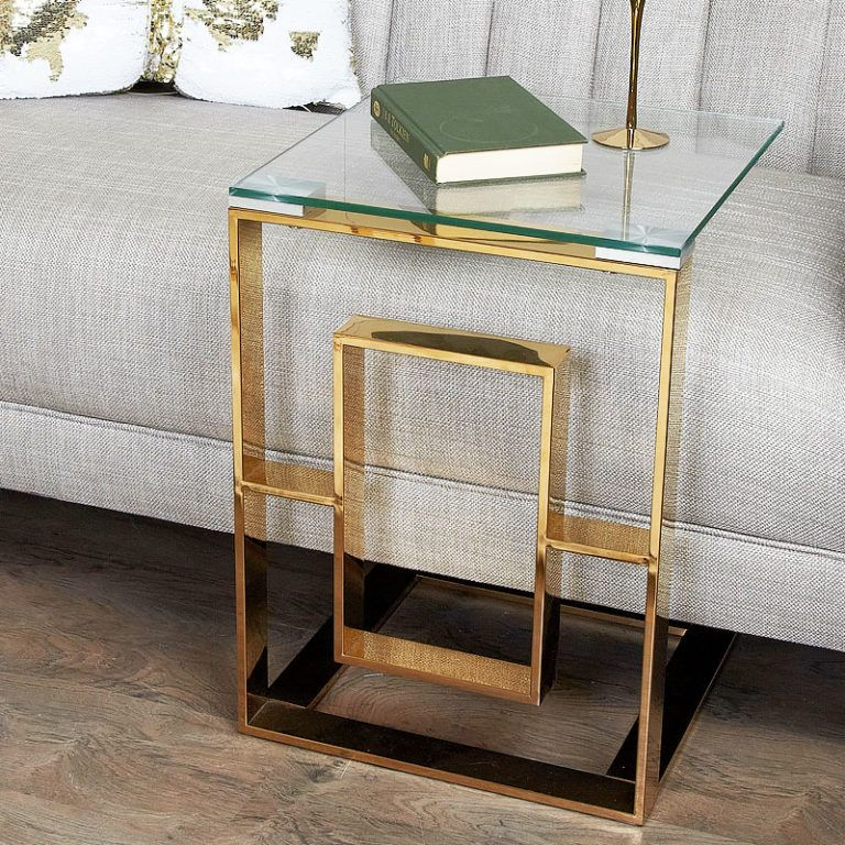 Plaza Gold Contemporary Clear Glass Sofa Table Side End Display Table Picture Perfect Home In 2020 Table Decor Living Room Sofa Table Decor Tempered Glass Table Top