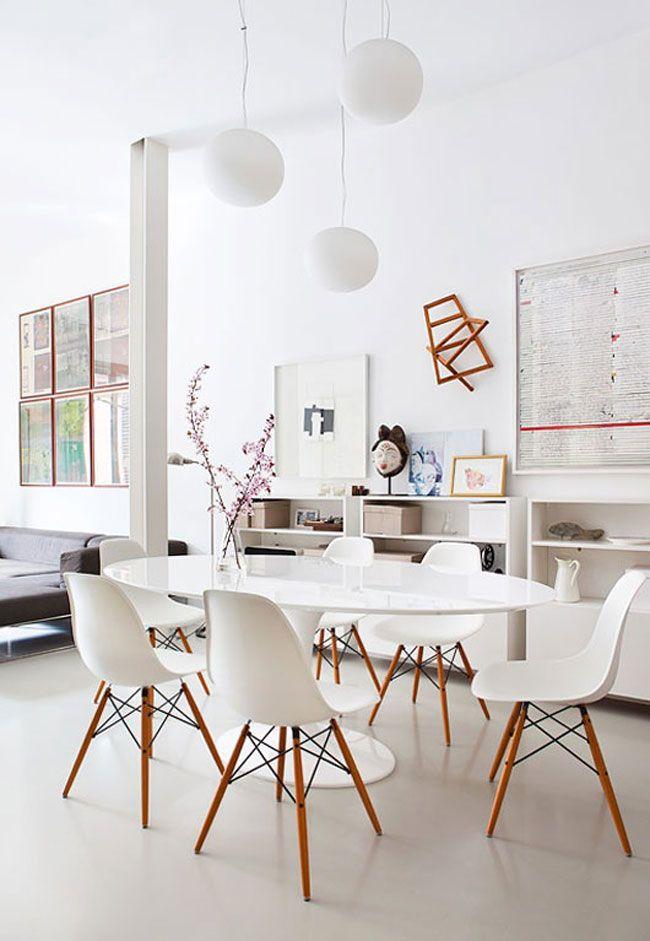 Salle à Manger Toute Blanche Ou Presque Manger Salle Et Coin - Table salle a manger ronde blanche pour idees de deco de cuisine