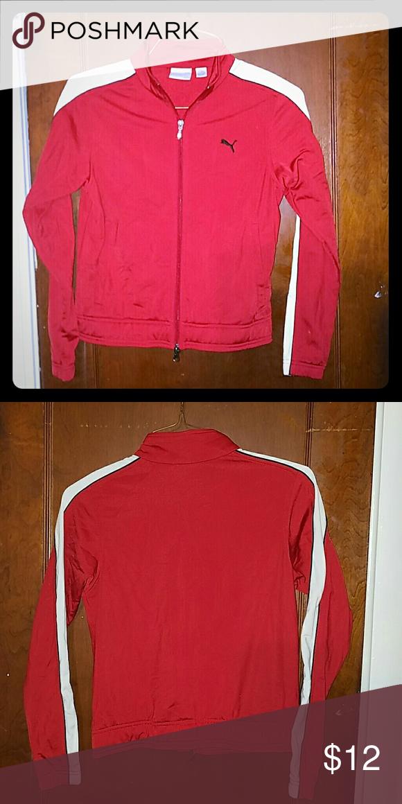 6230c46dda01 Puma track jacket Red Puma track jacket with white stripe down shoulders to  sleeves
