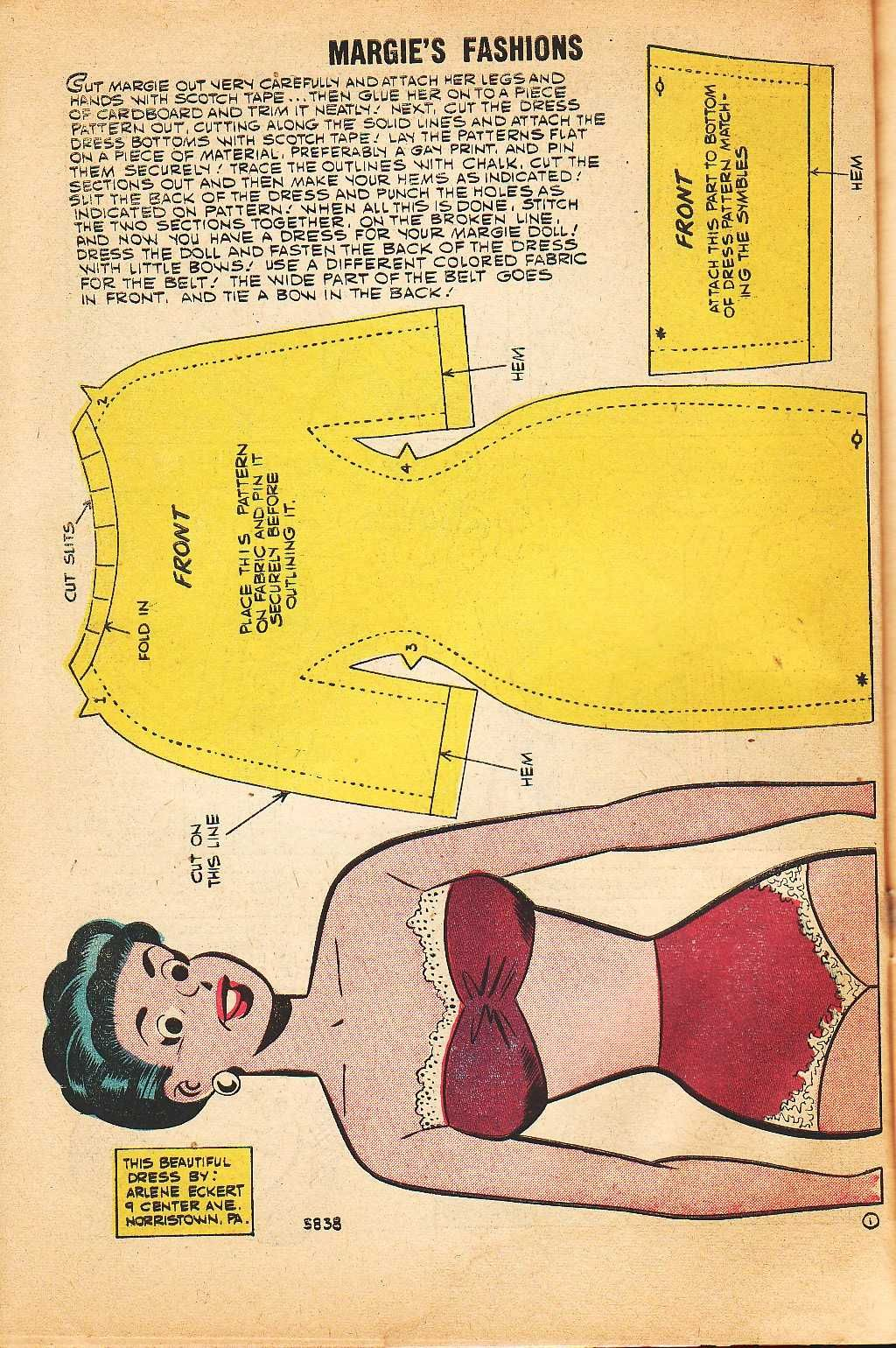 Margie Fashion Paper Doll - a free vintage download printable from Homeschool Commons
