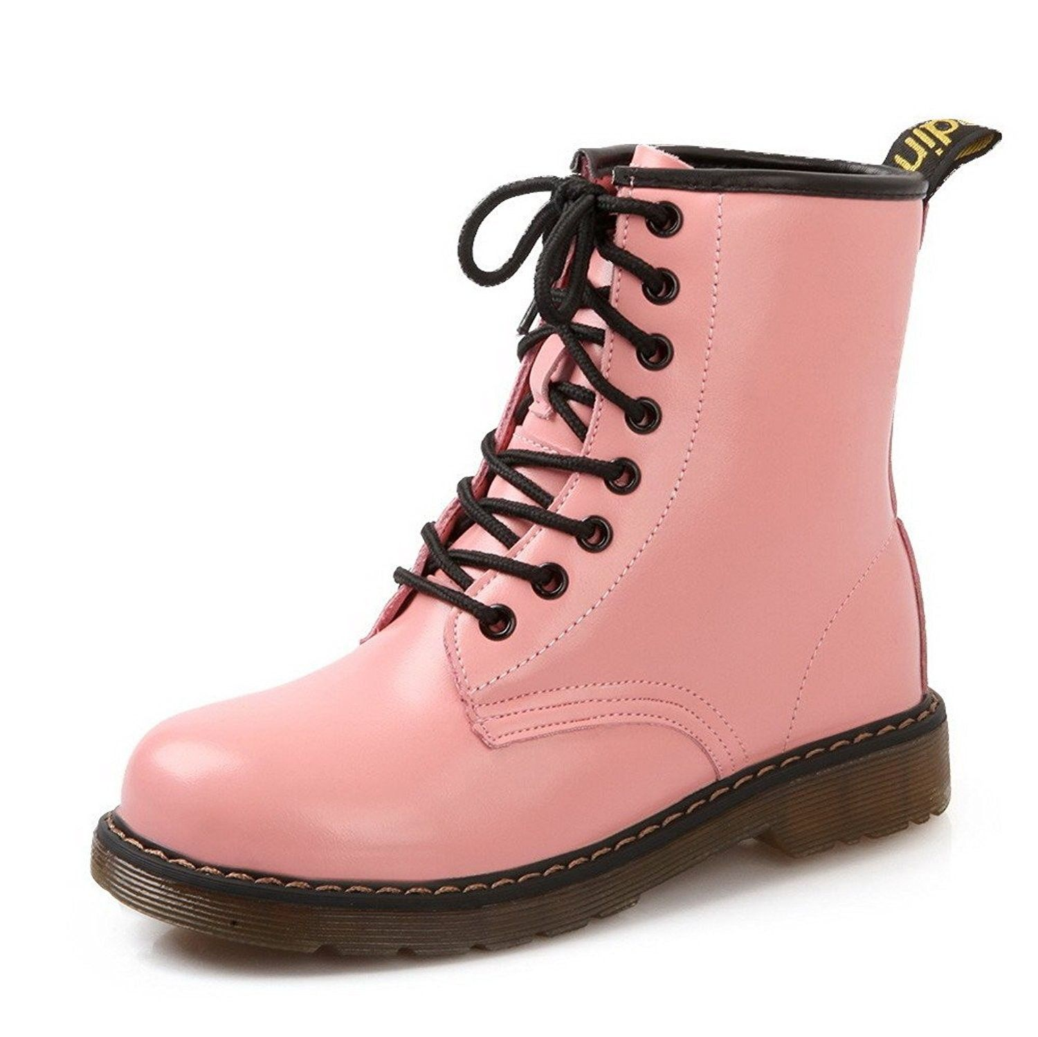 a8f8d04c5ab Womens Low Heels Low Top Solid Cow Leather Martin Boots - Pink ...