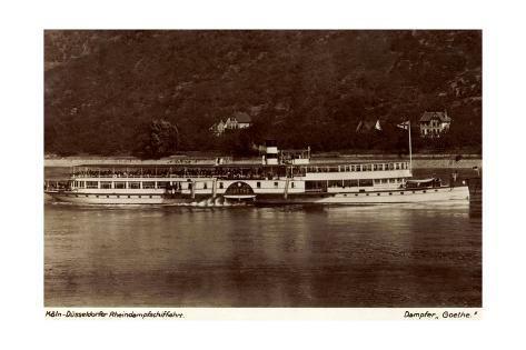 size: 24x16in Giclee Print: Dampfer Goethe Auf Dem Rhein Nahe Dem Ufer :