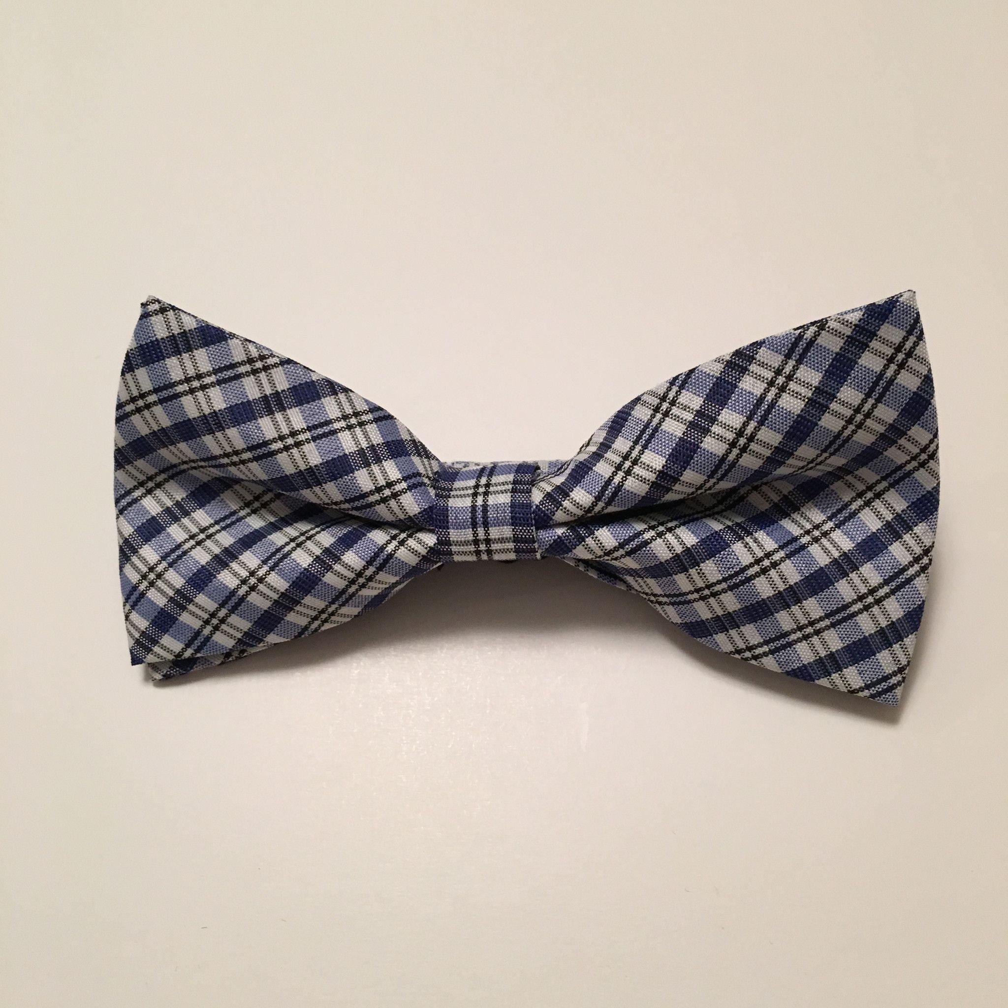 Men Bow Ties - Thin Blue Plaid