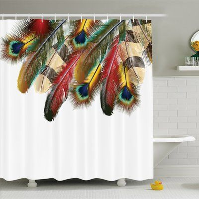 "Ambesonne Feather House Mystical Esoteric Peacock Feathers Deep Universal Link Icons Boho Theme Shower Curtain Set Size: 84"" H x 69"" W x 1"" D"