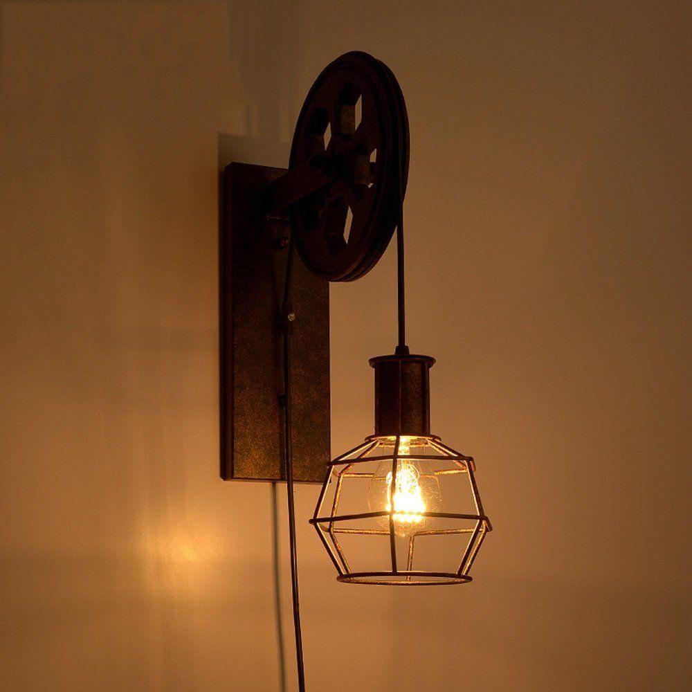 Eisen Lampe loft industrial retro lifting riemenscheibe wand lampe eisen rusty