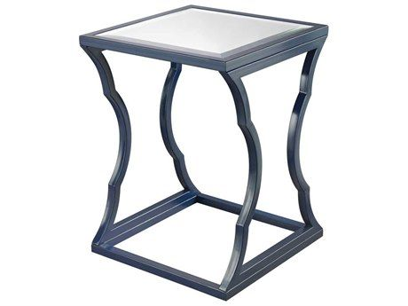 Lazy Susan 18 Square Metal Cloud Navy Blue End Table