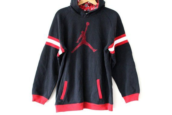 602bcc91504 Black Red AIR JORDAN Sweatshirt, Vintage Air Jordan Hoodie, Air Jordan  Jumper, Hip Hop Streetwear, A