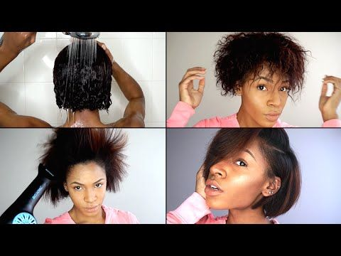 Wash Blow Out Flat Iron Routine For Natural Hair Video Black