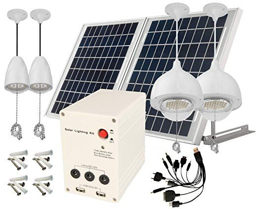 4 Lamps 25w Aluminum Solar Panel Lithium Battery Solar Home System Angle Adjustable Brackets To Get Maximal Sunshine House System Solar House Home