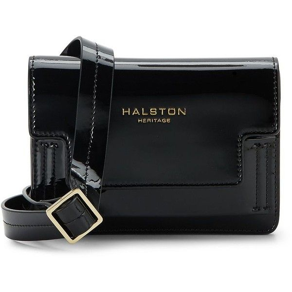 Halston Heritage Patent Leather Belt Bag ($60) ❤ liked on Polyvore featuring bags, handbags, belt bag, hip fanny pack, hand bags, patent purse and bum bags