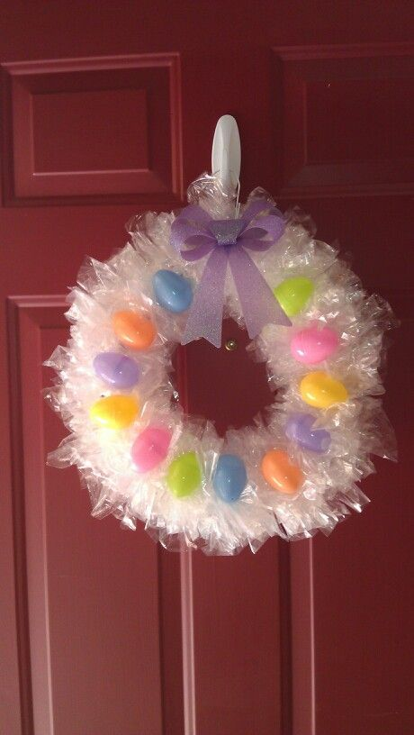 Homemade Easter Wreath Made From A Hanger Plastic