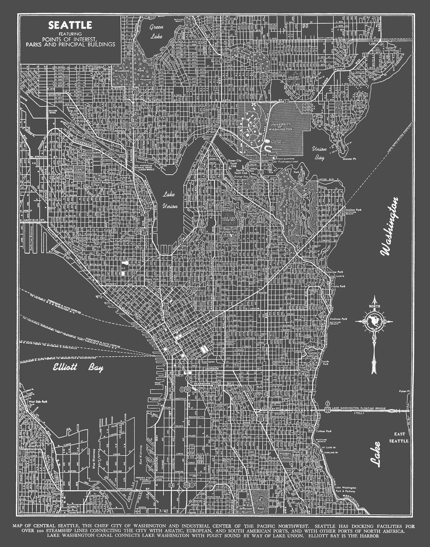 Seattle Map Art Poster Dark Gray Seattle Street Map Seattle map