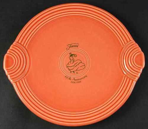 Fiesta® Dinnerware Persimmon Fiesta® 60th Anniversary Round Handled Serving Tray made by Homer Laughlin : fiesta cake plate - pezcame.com