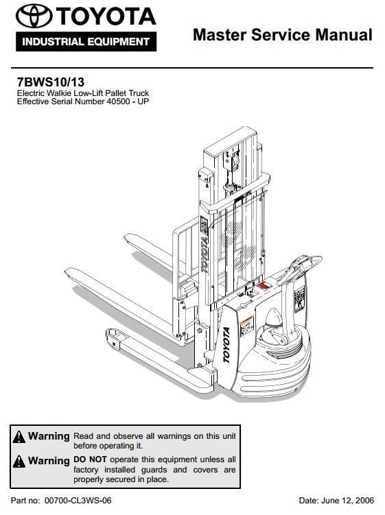 Original Illustrated Factory Workshop Service Manual For Toyota Electric Walkie Low
