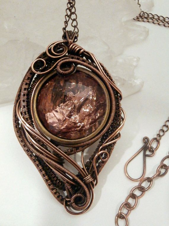 Mirror Mirror Copper Foil Wire Wrapped Pendant by PerfectlyTwisted ...