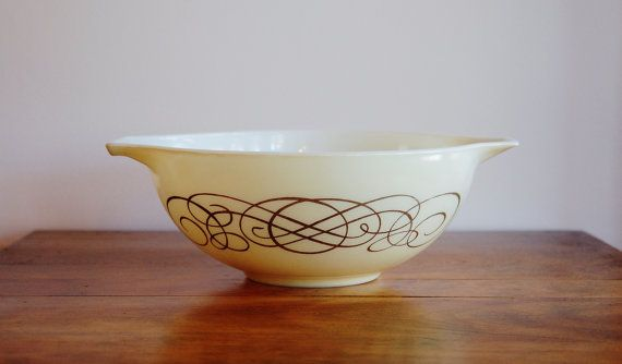 Pyrex Golden Scroll Bowl Promotional Ivory by CobblestonesVintage
