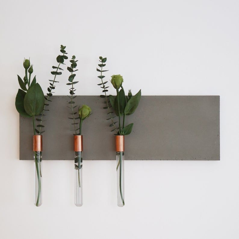 Wall Hanging Flower Vase Made Of Concrete And Copper 004 Flower Vase Making Flower Vases Handmade Wall Hanging