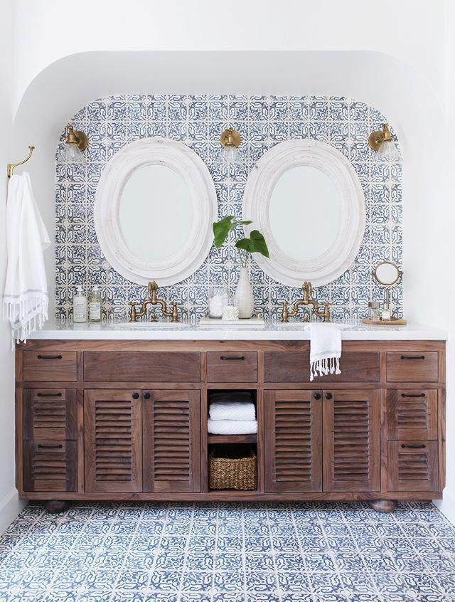 white bathroom with patterned blue tile and wood vanity cabinets with shutter doors pantone sailor blue navy blue #ModernHomeDecorBathroom #style #shopping #styles #outfit #pretty #girl #girls #beauty #beautiful #me #cute #stylish #photooftheday #swag #dress #shoes #diy #design #fashion #homedecor