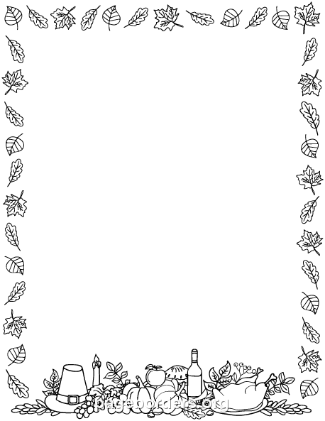 Printable black and white Thanksgiving border. Use the ...