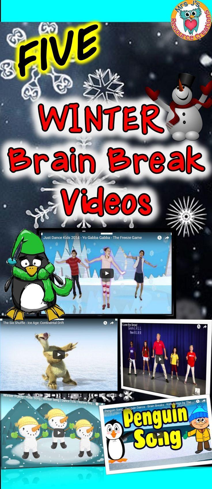 Winter Brain Breaks for the Classroom! | Brain break activities ...