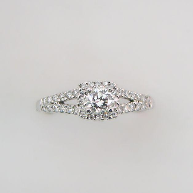 Round Diamond Halo Engagement Ring with Split Shank.